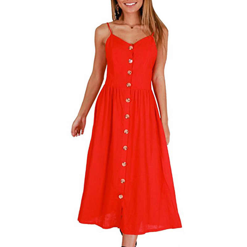 eaf57643640 ... Casual Vintage Sundress Women Summer Dress 2019 Boho Sexy Dress Midi  Button Backless Polka Dot Striped ...