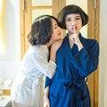 Nuevos hombres y mujeres del algodón Albornoz kimono albornoz del hotel Waffle sudor se evapore parejas albornoz Sueño de Las Mujeres y descansar