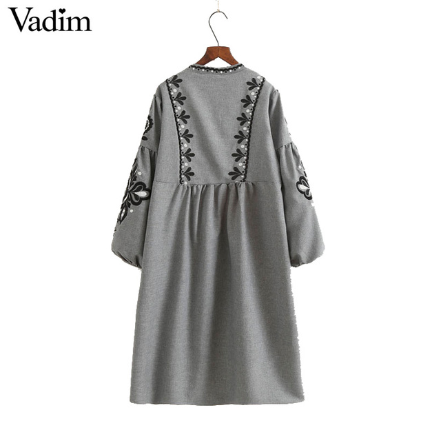 Women vintage flower embroidery long dress lantern sleeve bow tie o neck pleated vestidos casual brand retro dresses QZ2860