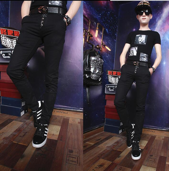 Black summer personality fashion men rivet pants casual harem pant men feet trousers pan ...