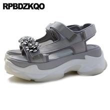 53b2de3a2dce4 Jewel Double Strap Sandals Women Flat Harajuku Platform Diamond Flower  Genuine Leather Black Pumps Flatform Embellished Shoes