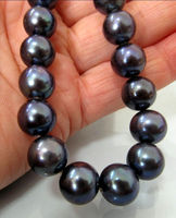 NEW 17 5 10 11MM TAHITIAN NATURAL BLACK PEARL NECKLACE PERFECT ROUND Noble Style Natural