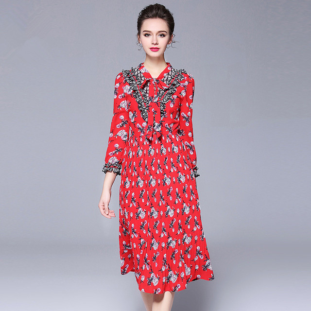 b45c960cc3 US $53.89 15% OFF|OUYALIN L 5XL Plus Size Dress 2018 Spring New Women V  neck 3/4 sleeve Floral Print Bow Pleated Bohemian Red Midi Dresses-in  Dresses ...