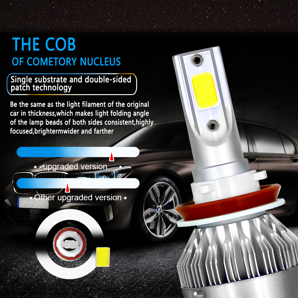 Image 3 - AROUSE 2pcs C6 H11 LED Car Headlights 72W 8000LM COB Auto Headlamp Bulbs H1 H3 H4 H7 H13 880 9004 9005 9006 9007 Car Fog Lights-in Car Headlight Bulbs(LED) from Automobiles & Motorcycles