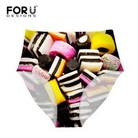 FORUDESIGNS Sexy Panties For Women 3D Candy Cakes Printing Underwear Underpants Seamless Ladies Briefs For M