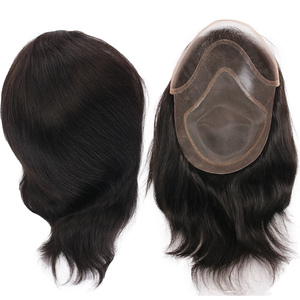 Image 3 - Peluquín de pelo PU para hombres con pelucas de cordones franceses para hombres europeos Remy sistemas de repuesto de cabello humano horquilla 10x8 pulgadas
