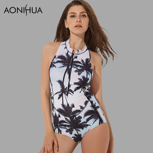 2017 sleevesless One Piece Swimsuit Printed Coconut trees Swimwear Women Bathing Suits Front Zipper Wetsuit Surfing Swim suits цена