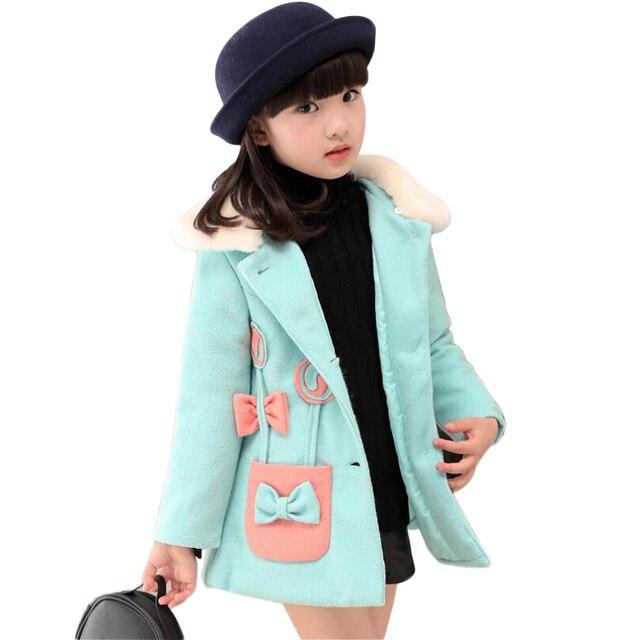 Winter Jackets For Girls Dimensional FlowersCasacos Nnverno Infantil Menina  Quilted Faux Fur Collar Baby Woolen Coat