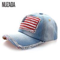 Brands NUZADA Denim Women Baseball Cap Girls Ladies Rhinestones Hip Hop Hats Caps Snapback Bone American