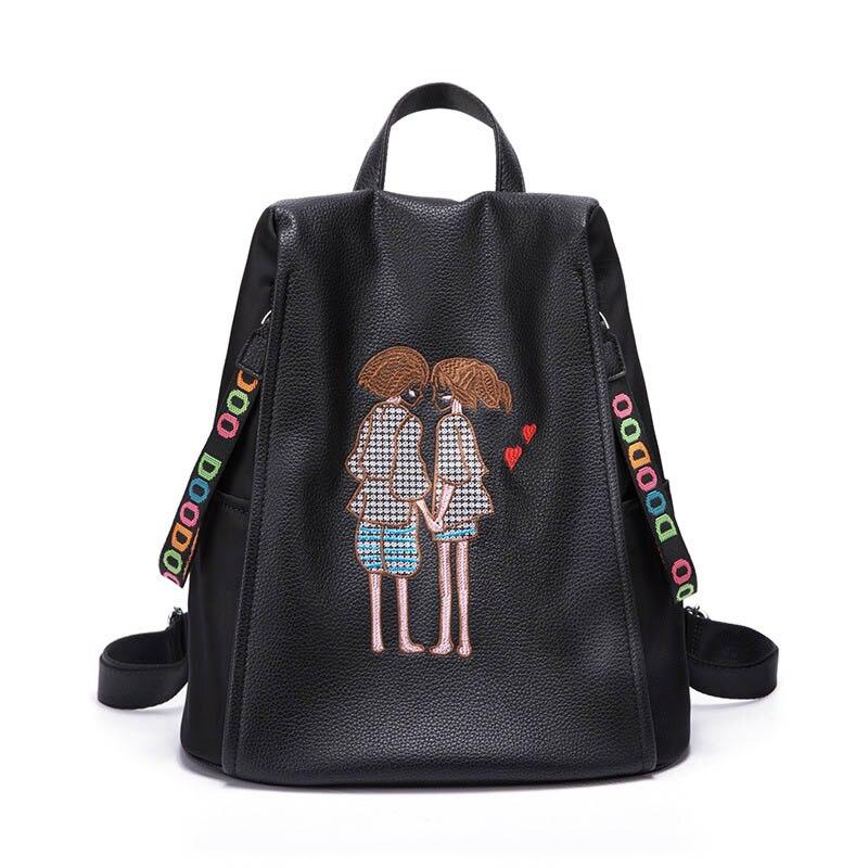 Sac à dos de voyage femme sac à bandoulière broderie sacs à dos d'école coréenne 2017 nouveau sac à dos femme grande capacité en cuir souple