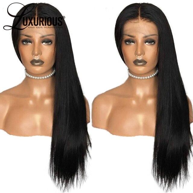 Pelucas de pelo humano frontales de encaje rectas para mujeres cabello Pre desplumado con pelo de bebé 8-26 pulgadas Remy brasileño nudos blanqueados del pelo del