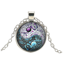 Vintage Ying Yang Butterfly Cabochon Glass Pendant Silver Chain Necklace Jewelry