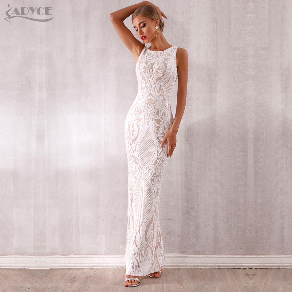 Adyce 2019 New Arrival Luxury Sequined Maxi Celebrity Evening Runway Party Dress Vestidos Sexy Sleeveless White