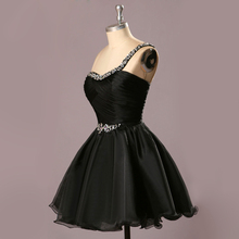 Real Made Black Cockatil Dresses 2015 Vestidos de Festa Cheap Prom Dress One Shoulder Graduation for Teens