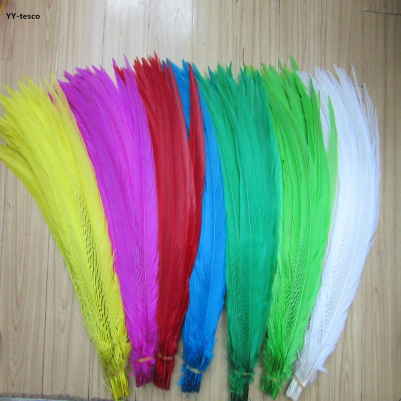 20 100pcs 50 55CM Natural Silver Pheasant Feathers For Crafts Wedding Decorations Chicken Silver Pheasant Tail