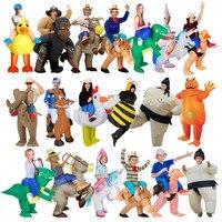 2018 New Inflatable Costumes Adult Children Fan T rex Gorilla Sumo Horse Cowboy Unicorn Dinosaur Halloween Christmas Purim Gift