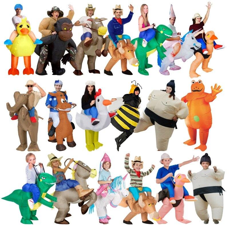 2018 neue Aufblasbare Kostüme Erwachsene Kinder Fan t-rex Gorilla Sumo Pferd Cowboy Einhorn Dinosaurier Halloween Weihnachten Purim Geschenk