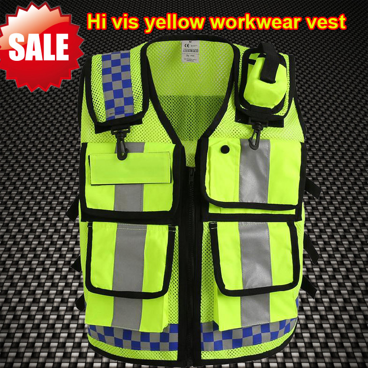 Hi Vis Breathable Mesh Vest Heavy Duty Zipper Multi Pockets High Visibility Men ANSI Certified Construction Security In Safety Clothing From