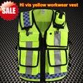 Workwear segurança refletivo de alta visibilidade vestuário reflector colete colete de trabalho colete de segurança amarelo fluorescente