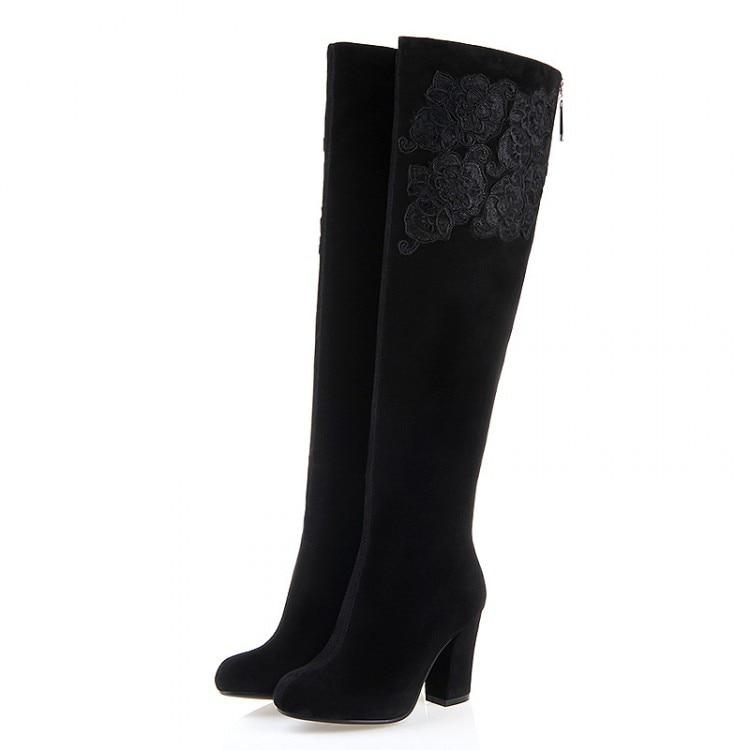 ФОТО Free shipping 2017 Women's High Heel Over Knee Boots Fashion sheepskin Genuine leather Platform Knee High boots for women