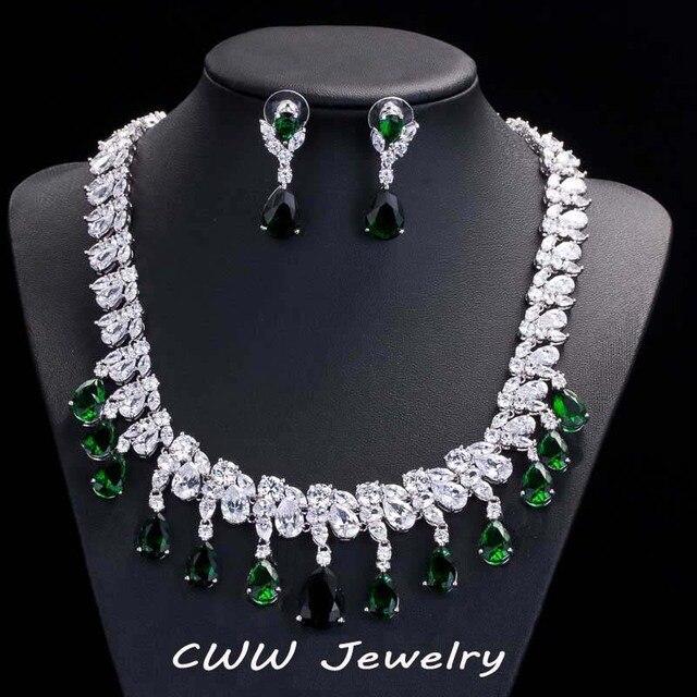 Ослепительная дисперсные диаманта CZ большой свадебная ожерелье серьги комплекты роскошные изумрудный зеленый кристалл свадебных ювелирных аксессуаров ( T126 )