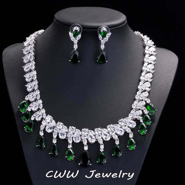 Dazzling Disperse CZ Diamond Big Wedding Necklace Earrings Sets Luxury Emerald Green Crystal Bridal Jewelry Accessories (T126)