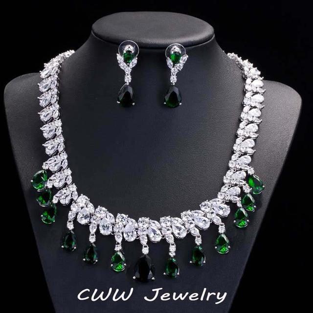 Deslumbrante Disperse CZ diamante grande casamento brincos colar de cristal de luxo verde esmeralda jóias ( T126 )