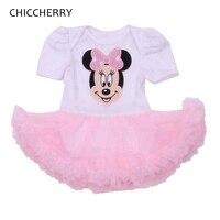 Розовый Минни глава для маленьких девочек одежда из хлопка для младенцев Кружево комбинезон платье костюмы для детей Roupa de Bebe малышей Наряд ...