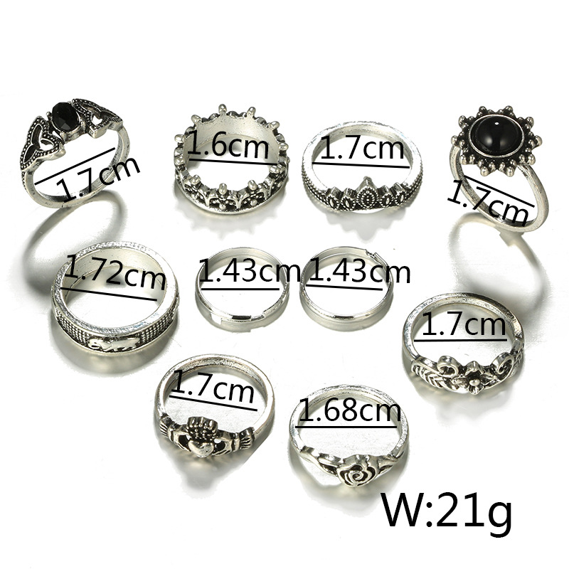 HuaTang Bohemian Antique Silver Ring Geometric Elephant Flower Green Rhinestone Knuckle Rings Midi Finger Anel Rings Jewelry 59