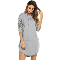 2017 Autumn Winter Clothes New Long Style Pure Colour Hoodie Jacket Pocket Side Womens Dress