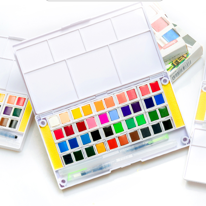 12 Colors Solid Watercolor Paint Pigment Art Painting Supplies Set For Artist