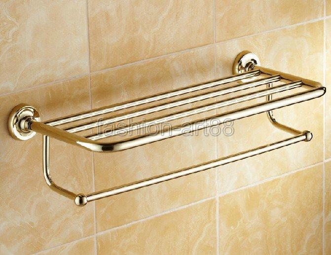 ФОТО Bathroom Accessory Luxury Golden Gold Color Brass Wall Mounted Bathroom Towel Rail Holder Storage Rack Shelf Bar aba230