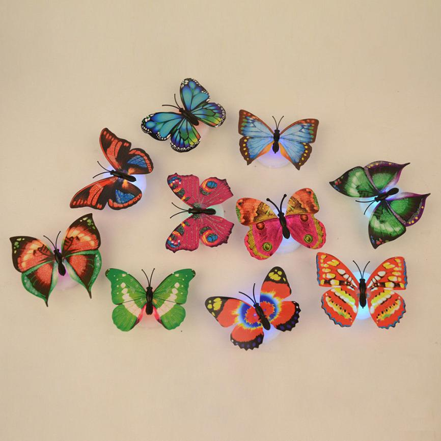 NoEnName_Null 10 Pcs Wall Stickers Butterfly LED Lights Wall Stickers 3D House Decoration drop shipping J27