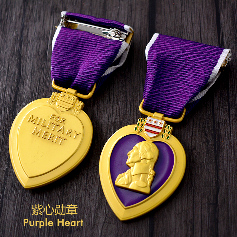 Purple Military Medal Badge Gold Heart Shape Brooch Special Personal Gift for Army Militrary Merit Travel