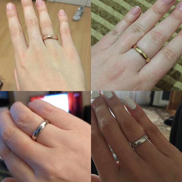 Letdiffery Smooth Stainless Steel Couple Rings Gold Simple 4MM Women Men Lovers Wedding Jewelry Engagement Gifts 5