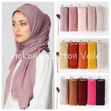 Новые Женские однотонные Макси хиджаб шарфы оверсайз Исламские шали головные обертывания длинные мусульманские потертые натуральные хлопковые смеси хиджабы