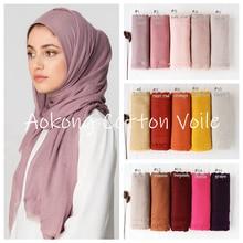 Nowy kobiety stałe Maxi hidżab szalik Oversize Islam szale okłady głowy długi muzułmaninem postrzępione prawdziwa bawełna mieszanki zwykły Hijabs