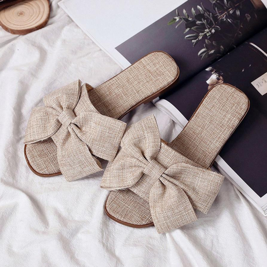 Women Sandals Summer Fashion Flip Flops Cloth Bow Flat Ankle Heel Round Toe Size 35-40 Comfort Sandals Slipper Beach Shoes