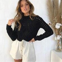 Лучший!  Свитера для женщин зима 2019 трикотаж с длинным рукавом женские пуловеры мода выдалбливают твердые