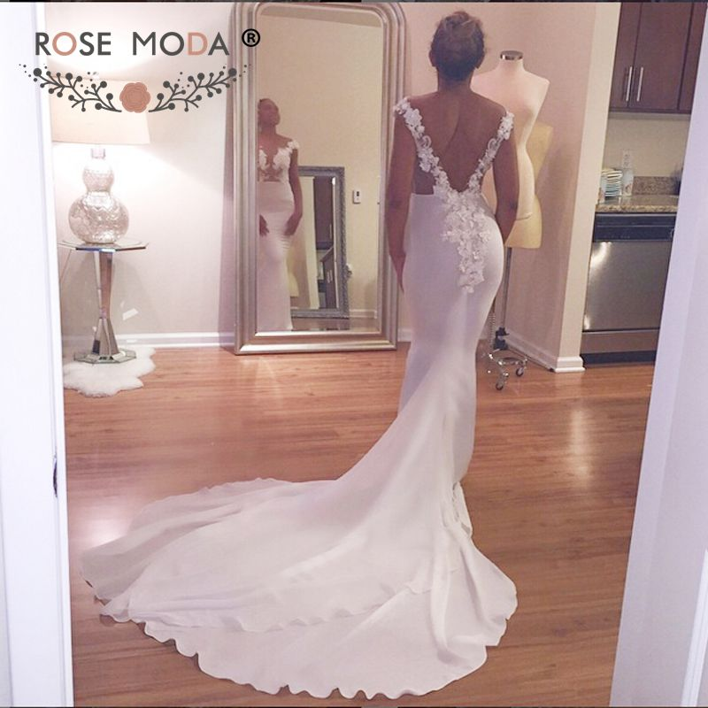 Sexy sheer bateau neck sleeveless backless sheath wedding for Backless sheath wedding dresses