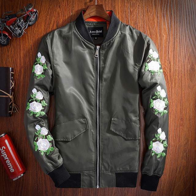 Burrima 2017 Spring Mens New Style Flower Embroidery Bomber Jackets Army Green/Black/White Windbreaker chaqueta hombre