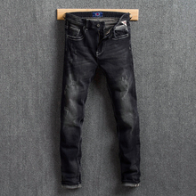 Fashion Streetwear Men Jeans Vintage Design Slim Fit Classical Black Jeans Denim Pants Ripped Jeans For Men Hip Hop Trousers цена в Москве и Питере