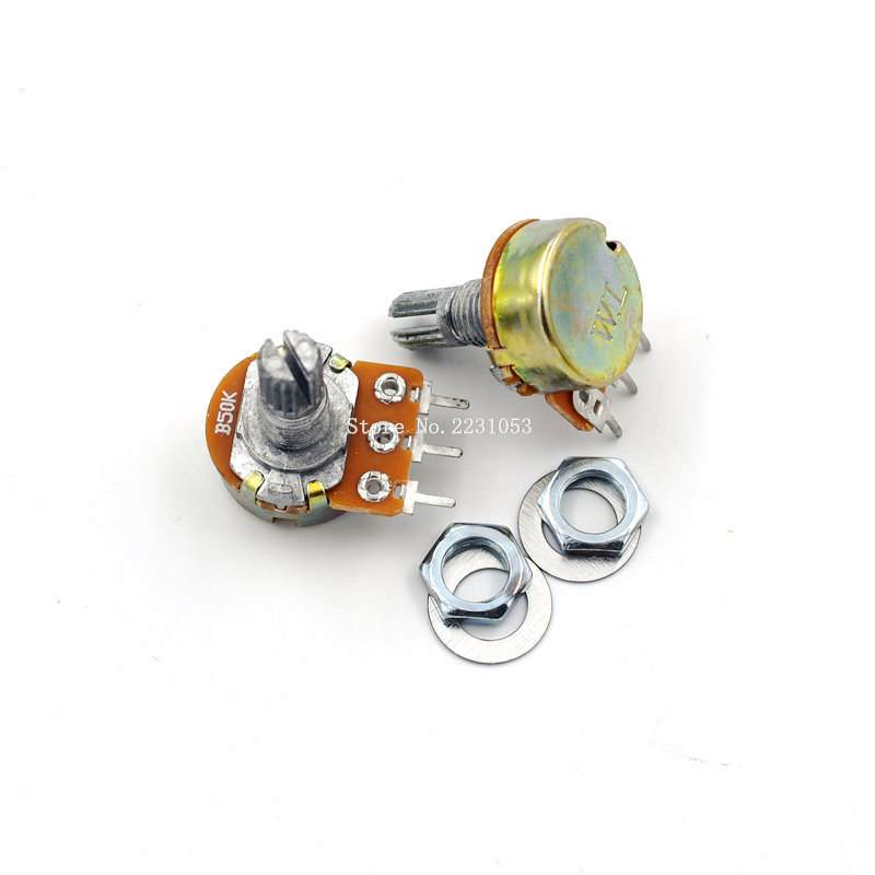 5PCS/LOT WH148 B50K 50K Linear Potentiometer 15mm Shaft With Nuts And Washers Single Joint 3 Pin Knob Switch Potentiometers