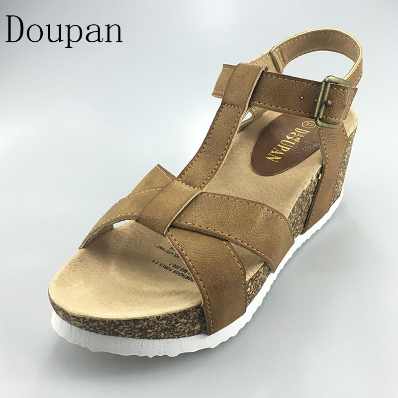 Doupan High Heels Sandals Women 2017 Summer Neutral Wedges Platform Comfortable Shoes Cork sandalias phyanic 2017 gladiator sandals gold silver shoes woman summer platform wedges glitters creepers casual women shoes phy3323