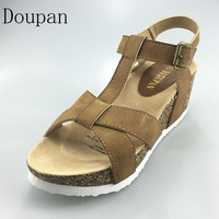Doupan High Heels Sandals Women 2017 Summer Neutral Wedges Platform Comfortable Shoes Cork Sandalias