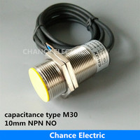 Adjustable Distance Capacitive Proximity Sensor M30 Detect 10mm Npn NO NC LED Liquid Level Capacitance Switch