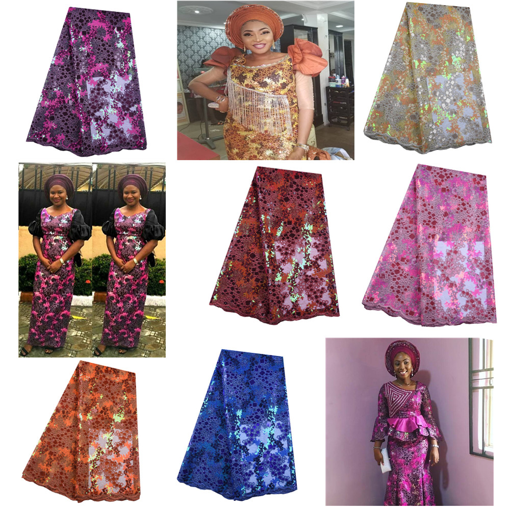 Nigerian Lace Fabric with glued glitter Cyndi 101026 French Embroidered lace fabric for party dress