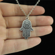 "Q439 Free Shipping 18"" Silver Chain Alloy Collar Short Choker Necklace Hamsa Hand Evil Eye Pendant Religious"