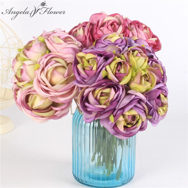 10 Head Artificial Flower Bouquet Rose Lotus Bridal Bouquet Silk Diy