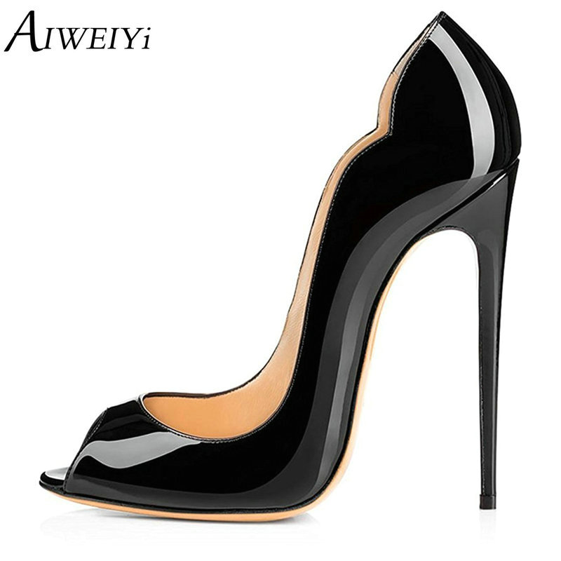 AIWEIYi Brand Shoes Woman High Heels Pumps Open toe Stiletto High Heels 8CM/10CM/12CM Women Shoes High Heels Wedding Shoes aiweiyi women s pumps shoes 100